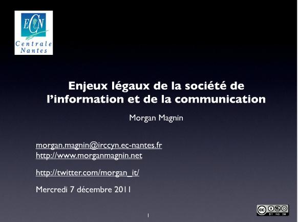 Page de garde du cours sur les enjeux légaux de la société de l'information et de la communication
