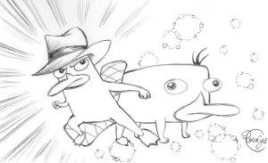Fan-art de Perry l'ornithorynque, mon personnage préféré, par Rosalys