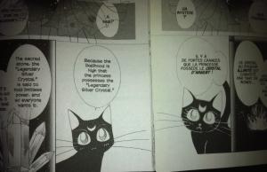 """Comparaison de l'ancienne édition française (à droite - publiée dans le sens """"français"""") et de l'édition Shinzôban américaine de Sailor Moon (à gauche - publiée dans le sens """"japonais"""") : la chatte Luna a été entièrement redessinée pour mieux correspondre au chara-design du personnage ; la case présentant le cristal d'argent connaît elle aussi le même sort."""