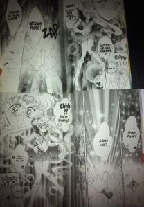 """Comparaison de l'ancienne édition française (en haut - publiée dans le sens """"français"""") et de l'édition Shinzôban américaine de Sailor Moon (en bas - publiée dans le sens """"japonais"""") : on observe l'ajout d'une case dans la séquence de transformation, ainsi qu'une refonte de la posture de Usagi et de son collier"""
