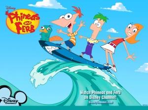 Phinéas et Ferb, leur ornithorynque Perry, et Candice