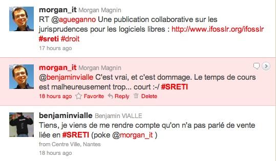 Exemple d'échanges enseignant/étudiant via Twitter