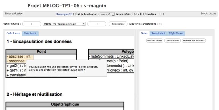 Capture d'écran de MarkUs pour l'évaluation d'un document PDF