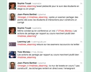 Pendant les exposés, le public a partagé ses impressions en direct sur Twitter. Cela a contribué à la visibilité des échanges auprès d'un large public intéressé par les TICE, et pas uniquement envers l'auditoire présent à Lyon.
