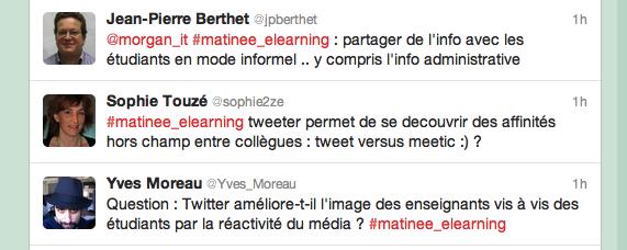 Exemple d'échanges sur Twitter pendant la matinée du e-learning