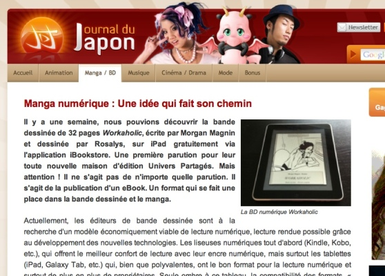 Article de Journal du Japon sur la parution de Workaholic sur iBookStore
