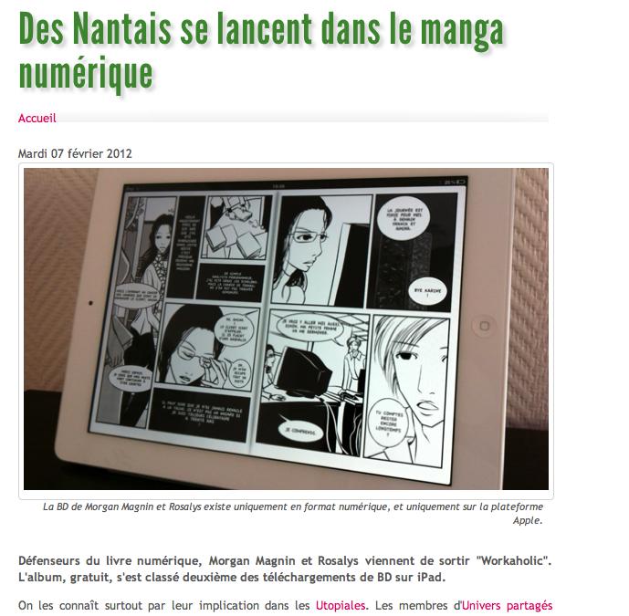 Article de Nantes-Actu sur la parution de Workaholic sur iBookStore