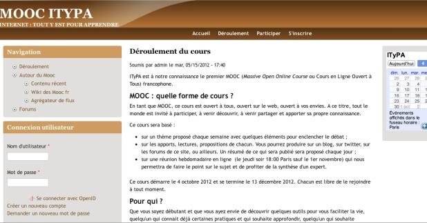 Aperçu de la plate-forme du MOOC ITyPA