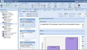 Vue générale sur l'application web par l'enseignant, avec la possibilité de définir de nouvelles questions, de visualiser en direct les résultats d'une session, etc.