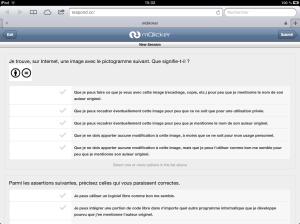 Accès par un étudiant à une session de questions (ici, via une tablette)