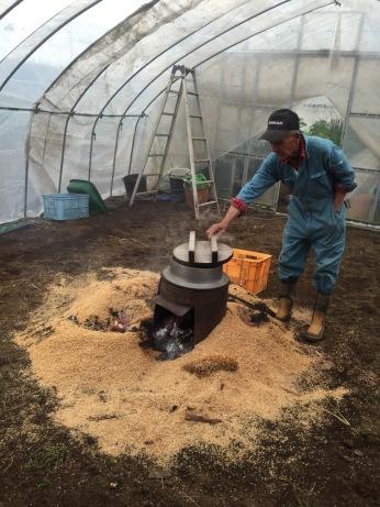Saito-san prepares some rice